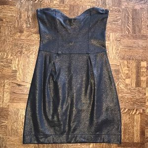 French Connection Black and Copper sheen dress